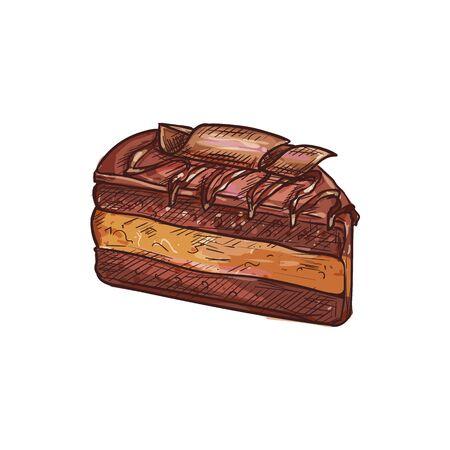 Creamy sweet chocolate dessert isolated cake sketch. Vector piece of birthday pie 向量圖像