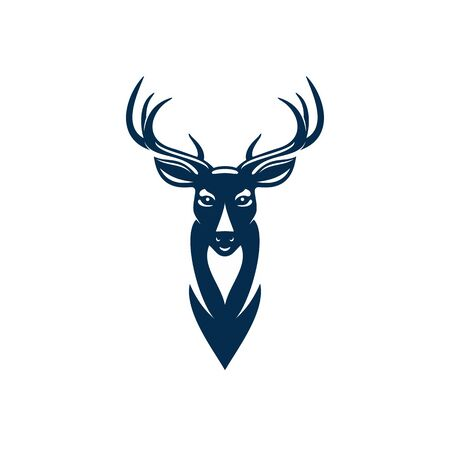 Wild elk or deer with antlers isolated head mascot. Vector horned animal, reindeer hunting sport emblem