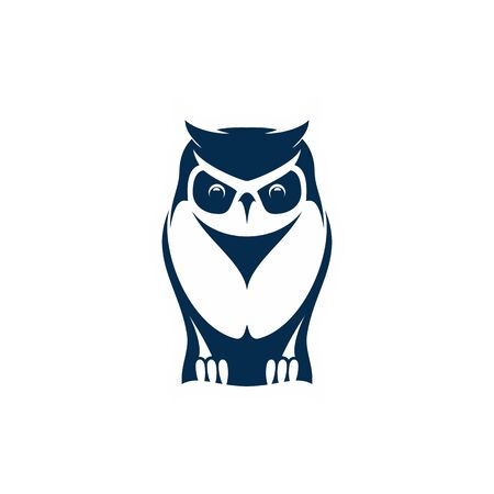 Wild owl isolated wise bird mascot. Vector feathered animal, symbol of wisdom Illustration