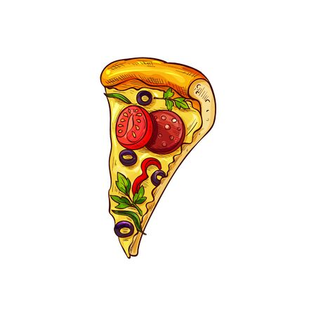 Pizza with vegetables, mushrooms and salami isolated sketch. Vector fastfood snack pepperoni with olives and tomatoes Illustration