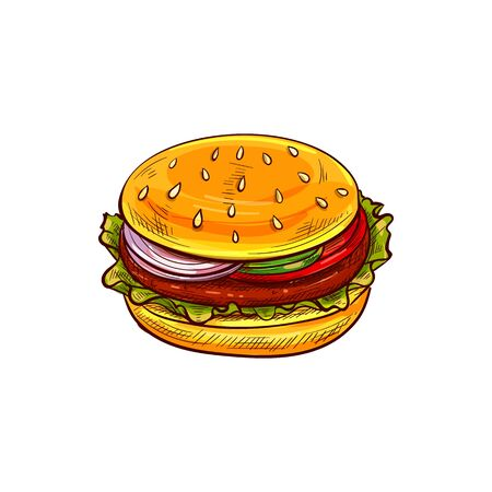 Hamburger isolated fastfood snack. Vector bun with tomato, lettuce and chop, cheese and sesame