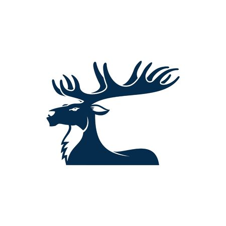 Moose with big antlers isolated elk animal profile view. Vector horned buck, forest stag