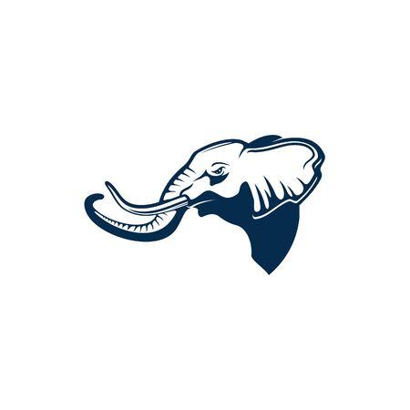 Perfil de la mascota del mamífero de la selva aislada de la cabeza del elefante. Vector elephas con tronco y colmillos