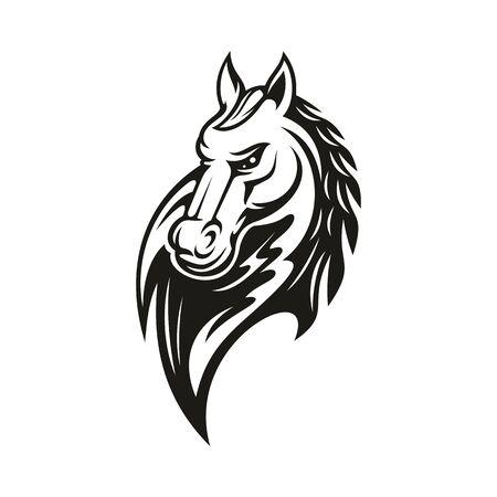 Arabisches Rennpferd isolierter monochromer Kopf. Vektor wilder Hengst, Bauernhofpferdtiersymbol