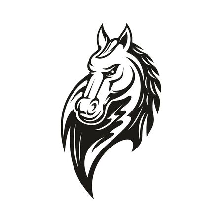 Arabian racehorse isolated monochrome head. Vector wild stallion, farm horse animal symbol