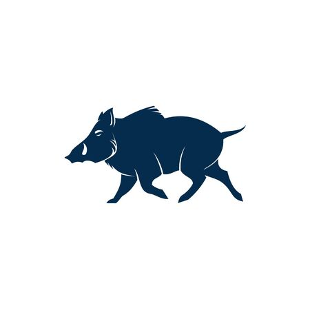 Boar wild pig isolated animal silhouette. Vector hog, warthog swine with tusks Illustration