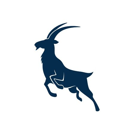 Gazelle or antelope isolated animal silhouette. Vector wild jumping goat, hunting sport mascot