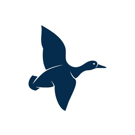 Duck or wild goose isolated flying bird silhouette. Vector fowl in flight, waterfowl duckling