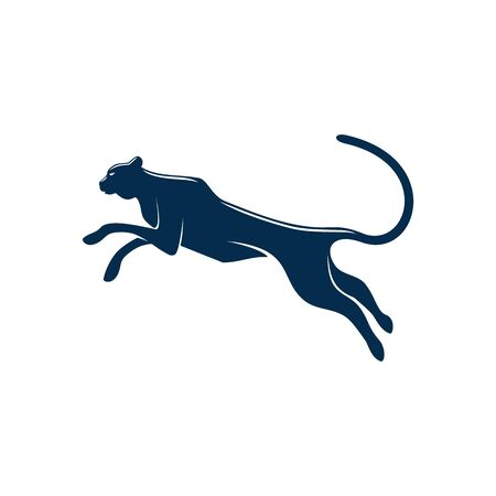 Wild black panther isolated puma or cougar. Vector running or jumping leopard silhouette Illustration