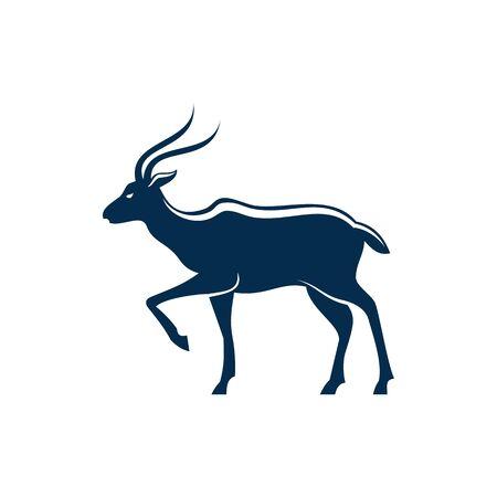 Antilope ou gazelle silhouette isolé animal sauvage. Springbok de vecteur ou gemsbok, jeune oryx