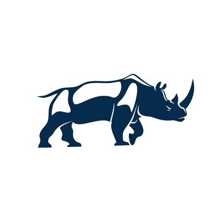 Big african rhino isolated huge rhinoceros. Vector african horned animal mascot, safari rhino profile 向量圖像