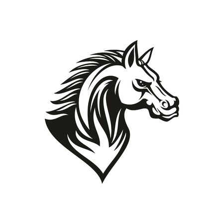 Thoroughbred racehorse animal, isolated profile of horse head. Vector mustang stallion monochrome tattoo mascot