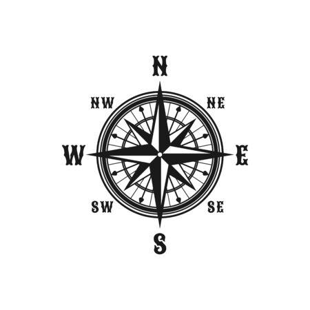 Bussola marina di navigazione o icona di vettore della rosa dei venti. Simboli isolati di bussola navigatore retrò nautico con nomi di venti di frecce est, ovest, nord e sud per il design del viaggio in nave