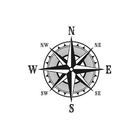 Boussole marine de navigation ou icône de vecteur de rose des vents. Symboles isolés de la boussole de navigateur rétro nautique avec les noms des vents des flèches est, ouest, nord et sud pour la conception de voyages en bateau