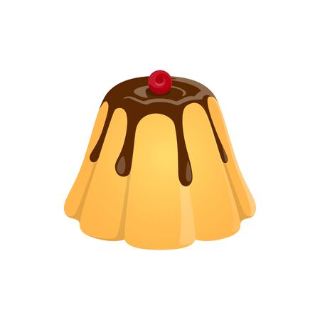 Tasty pudding with chocolate topped by cherry isolated jelly. Vector dessert custard, cream caramel Illustration