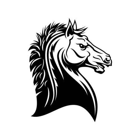 Icône tête de cheval héraldique. Symbole héraldique royal de vecteur de l'étalon Pegasus, cheval médiéval gothique Vecteurs