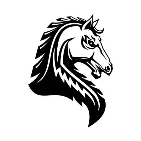 Icône de vecteur de cheval héraldique. Cheval héraldique royal symbole de l'étalon médiéval gothique Pegasus Vecteurs