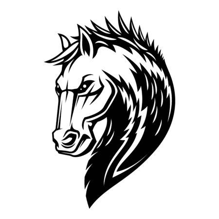 Tête de cheval héraldique et icône de crinière. Symbole héraldique équine royale de vecteur de cheval étalon Pégase