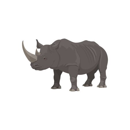 Rhinoceros wild animal vector isolated icon. African safari zoo and savanna hunt trophy rhinoceros
