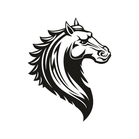 Horse head icon of black tribal animal. Wild mustang stallion or mare with curved neck and ornamental mane for tattoo, horse racing sport mascot or t-shirt print design Stock Vector - 136685055