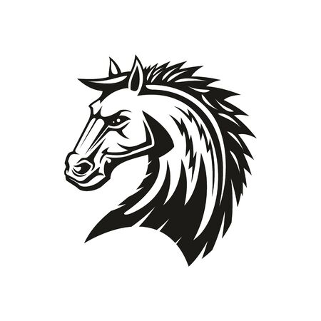 Arabian rebellion horse isolated head. Vector equestrian sport symbol, stallion or mane profile