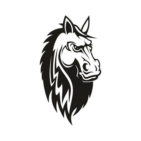 Feuer elegantes Pferdesymbol der Geschwindigkeit im Pferdesport. Vektor isoliertes Rennpferd, Vollblut Hengst Maskottchen