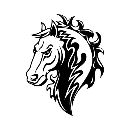 Horse or mustang animal isolated icon, tribal tattoo and equestrian sport mascot design. Black and white stallion or mare horse head with angry muzzle and curly mane Stock Vector - 136685542