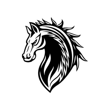 Horse or mustang animal isolated icon, tribal tattoo and equestrian sport mascot design. Black and white stallion or mare horse head with angry muzzle and curly mane