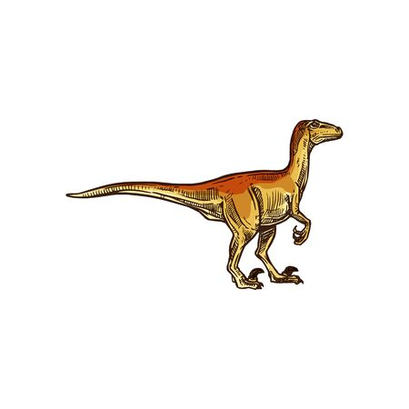 T-rex isolated beige dinosaur sketch. Vector cartoon tyrannosaurus prehistoric extinct animal Ilustração