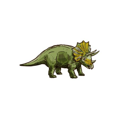 Triceratops isolated green dinosaur with horn. Vector dino sketch, T. horridus with epoccipital fringe