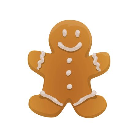 Gingerbread boy cookie isolated. Vector Christmas ginger man with white sugar icing Ilustração