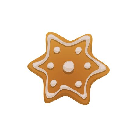 Gingerbread cookie, star with white sugar topping isolated. Vector baked pastry food, biscuit dessert Ilustração