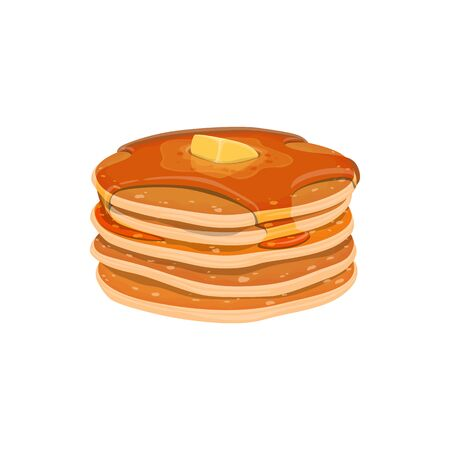 Pancakes with sweet maple syrup isolated. Vector pile of homemade dessert with honey Banco de Imagens - 137233839
