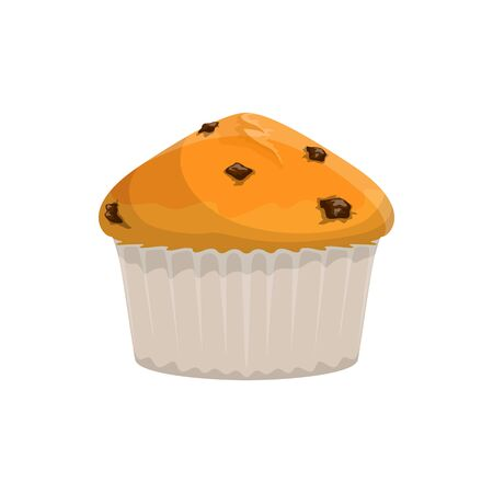 Cupcake with raisins or chocolate isolated. Vector homemade bakery food, muffin in paper