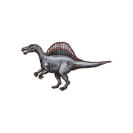 Ankylosauria isolated cartoon armour dinosaur sketch. Vector spinosaurus prehistoric extinct animal