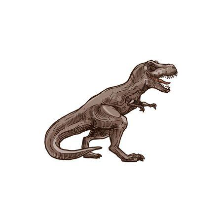 Croquis animal préhistorique isolé de dinosaure T-rex. Tyrannosaure de vecteur, raptor triceratops dino de la faune