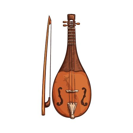 Rebec isolated retro musical instrument. Vector bowed stringed instrument with bow, arab music  イラスト・ベクター素材