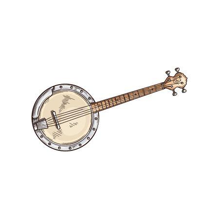 American banjo isolated retro musical instrument. Vector four string banjo guitar, chordal accompaniment Ilustração