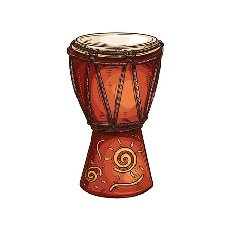 Djembe drum African musical instrument isolated sketch. Vector rope-tuned and skin-covered goblet jembe
