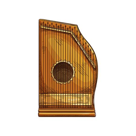 Zither musical instrument isolated sketch. Vector retro chord zither, stringed wooden object  イラスト・ベクター素材