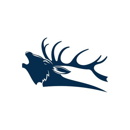 Roaring deer isolated black silhouette of red elk stag. Vector reindeer buck, head with antlers Stock Illustratie