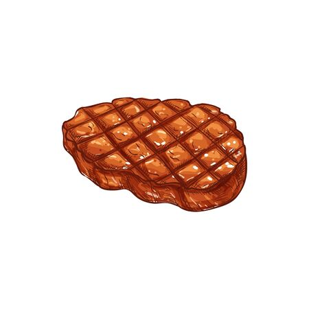 Barbecue steak sketch icon, grilled meat isolated vector. Cooked beef or pork, food Illusztráció