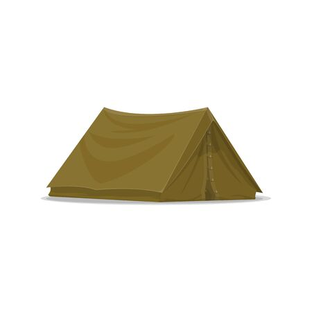 Camping tent vector isolated icon. Hunting adventure and outdoor hiking tourist tent equipment