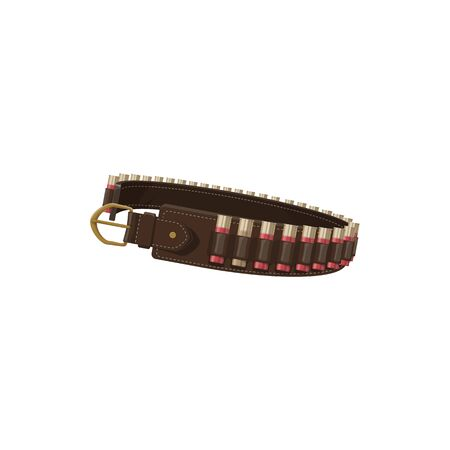 Hunter bandolier vector isolated icon. Hunting ammo equipment, rifle gun bullets cartridge belt