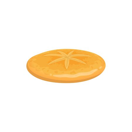 Biscuit cookies isolated cracker top view. Vector crispy baking, round sweet or salty snack