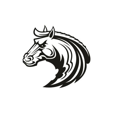 Horse animal icon of tribal tattoo or racing sport mascot. Head of black stallion, wild mustang or racehorse symbol of aggressive horse for breeding farm, riding club emblem or equestrian theme design 免版税图像 - 137233713