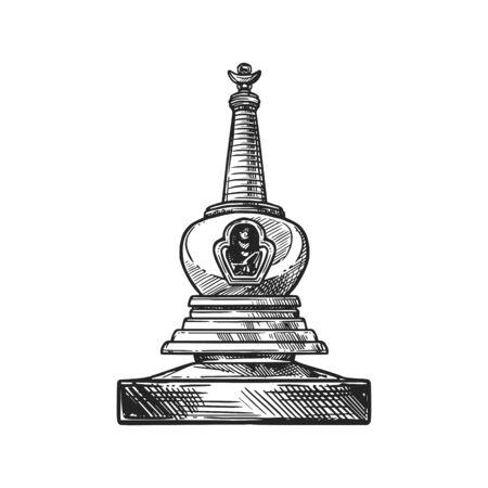 Simbolo religioso del buddismo, santuario stupa. Culto buddista e Induismo Dharma religione schizzo vettoriale stupa