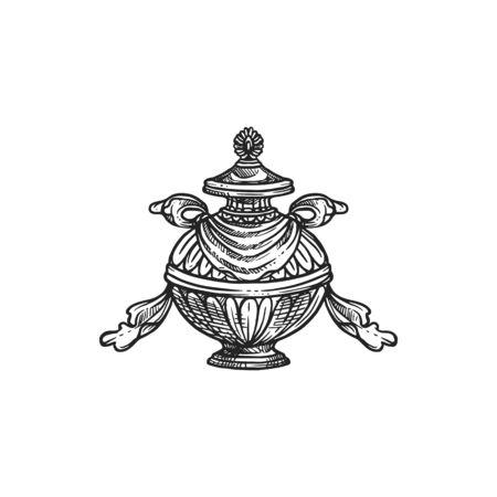 Buddhism religious symbol, bumpa vase. Buddhist worship, Hinduism Dharma religion ritual pumpa vector sketch