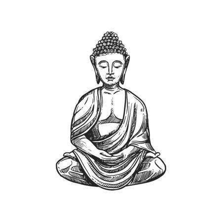 Buddhism religious symbol, Buddha meditation. Buddhist Hinduism Dharma religion, Buddha lotus vector sketch