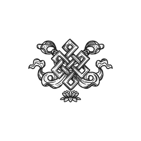 Buddhism religious symbol, endless knot. Buddhist Hinduism Dharma religion, eternal knot vector sketch 向量圖像